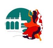 Απεικόνιση της χορεύοντας ισπανικής γυναίκας Στοκ εικόνα με δικαίωμα ελεύθερης χρήσης