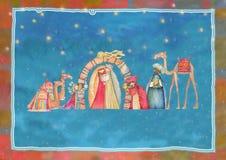 Απεικόνιση της χριστιανικής σκηνής Nativity Χριστουγέννων με τους τρεις σοφούς ανθρώπους διανυσματική απεικόνιση