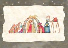 Απεικόνιση της χριστιανικής σκηνής Nativity Χριστουγέννων με τους τρεις σοφούς ανθρώπους Στοκ εικόνα με δικαίωμα ελεύθερης χρήσης