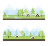 Απεικόνιση τοπίων με τα ισλανδικά σπίτια τύρφης, τη χλόη άνοιξη και τα βουνά χιονιού Στοκ Εικόνα