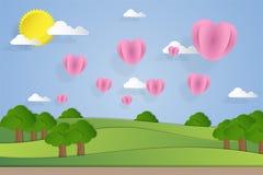 Απεικόνιση τοπίων με τα μπαλόνια καρδιών στο ύφος τέχνης εγγράφου Στοκ φωτογραφία με δικαίωμα ελεύθερης χρήσης