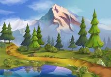 Απεικόνιση τοπίων φύσης διανυσματική απεικόνιση