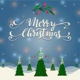 Απεικόνιση τοπίων Χαρούμενα Χριστούγεννας Στοκ Εικόνα