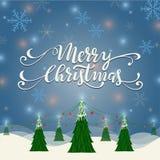 Απεικόνιση τοπίων Χαρούμενα Χριστούγεννας Στοκ Εικόνες
