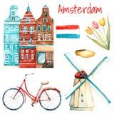Απεικόνιση του Άμστερνταμ Watercolor Στοκ εικόνα με δικαίωμα ελεύθερης χρήσης