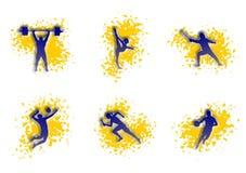 Απεικόνιση του αθλητισμού: καλαθοσφαίριση, πετοσφαίριση, τρέξιμο απεικόνιση αποθεμάτων