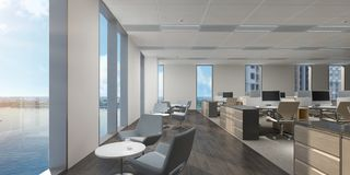 Απεικόνιση του ανοικτού γραφείου κανένα, με την άποψη κόλπων διανυσματική απεικόνιση