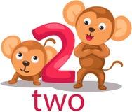 Αριθμός 2 χαρακτήρας με τον πίθηκο Στοκ φωτογραφία με δικαίωμα ελεύθερης χρήσης
