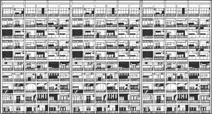 Απεικόνιση του ασιατικού εμπορικού και κατοικημένου κτηρίου Στοκ Εικόνες