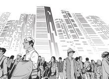 Απεικόνιση του αστικού πλήθους από τη χαμηλή άποψη γωνίας με τους πύργους και των υψηλών ανόδων στο υπόβαθρο στη γραπτή γκρίζα κλ Στοκ Φωτογραφίες