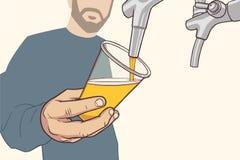 Απεικόνιση του ατόμου με τη χύνοντας μπύρα σχεδίων γενειάδων στα εκλεκτής ποιότητας χρώματα Στοκ φωτογραφία με δικαίωμα ελεύθερης χρήσης