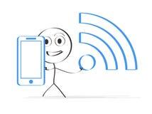 Απεικόνιση του ατόμου με το smartphone ελεύθερη απεικόνιση δικαιώματος