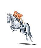 Απεικόνιση του ατόμου στην πλάτη αλόγου κατά τη διάρκεια ενός ανταγωνισμού οδήγησης Στοκ εικόνες με δικαίωμα ελεύθερης χρήσης