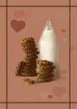 Απεικόνιση του γάλακτος και των μπισκότων - ο καλύτερος γλυκός, νόστιμος συνδυασμός προγευμάτων απεικόνιση αποθεμάτων