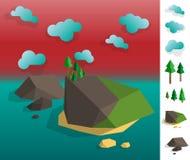 Απεικόνιση του γεωμετρικού τοπίου αρχιπελαγών νησιών απεικόνιση αποθεμάτων