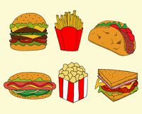 Απεικόνιση του γρήγορου γεύματος στο ύφος κινούμενων σχεδίων Ζωηρόχρωμη διανυσματική απεικόνιση burgers και σάντουιτς για το σχέδ ελεύθερη απεικόνιση δικαιώματος