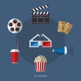 Απεικόνιση του επίπεδου συνόλου εικονιδίων κινηματογράφων και ταινιών ύφους Στοκ φωτογραφίες με δικαίωμα ελεύθερης χρήσης