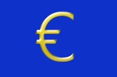 Απεικόνιση του ευρο- σημαδιού με το μπλε υπόβαθρο Στοκ φωτογραφία με δικαίωμα ελεύθερης χρήσης
