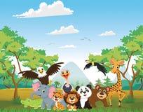 Απεικόνιση του ευτυχούς ζώου στη ζούγκλα απεικόνιση αποθεμάτων