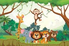 Απεικόνιση του ευτυχούς ζώου στη ζούγκλα διανυσματική απεικόνιση