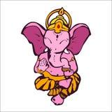 Απεικόνιση του Θεού ελεφάντων του ganesha με το άσπρο υπόβαθρο στοκ εικόνα με δικαίωμα ελεύθερης χρήσης
