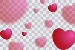 Απεικόνιση του θολωμένου υποβάθρου μπαλονιών καρδιών, βαλεντίνοι ημέρα poster7 Στοκ Εικόνα