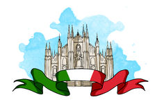 Απεικόνιση του θόλου καθεδρικών ναών του Μιλάνου διανυσματική απεικόνιση