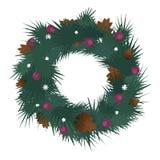 Απεικόνιση του διακοσμημένου στεφανιού Χριστουγέννων με τον κώνο σφαιρών και πεύκων Στοκ Εικόνα