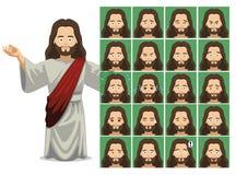 Απεικόνιση του Ιησού Cartoon Emotion Faces Vector θρησκείας διανυσματική απεικόνιση
