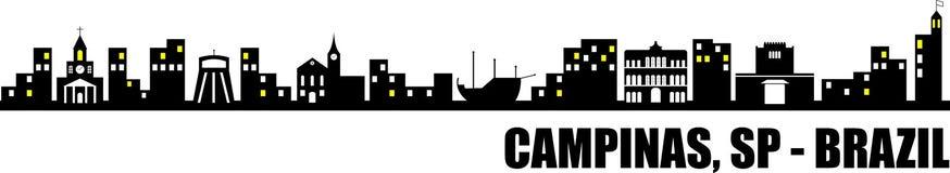 Απεικόνιση του Καμπίνας, SP - Βραζιλία Εικονική παράσταση πόλης με τα τουριστικά σημεία της πόλης στοκ φωτογραφία