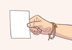 Απεικόνιση του κενού κομματιού χαρτί εκμετάλλευσης χεριών στα εκλεκτής ποιότητας χρώματα Στοκ φωτογραφία με δικαίωμα ελεύθερης χρήσης