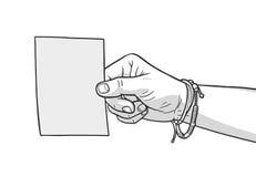 Απεικόνιση του κενού κομματιού χαρτί εκμετάλλευσης χεριών στα εκλεκτής ποιότητας χρώματα Στοκ Φωτογραφίες