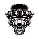 Απεικόνιση του κεφαλιού pantera στο κράνος ποδηλατών Στοιχείο σχεδίου για το λογότυπο, ετικέτα, έμβλημα, σημάδι, αφίσα, μπλούζα διανυσματική απεικόνιση