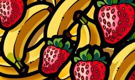 Απεικόνιση του μίγματος θερινών φρούτων φραουλών και μπανανών Στοκ Φωτογραφίες