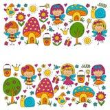 Απεικόνιση του μαγικού δάσους με το σχέδιο Doodle νεράιδων για τα κορίτσια και του παιδικού σταθμού, παιδιά καταστημάτων παιδιών  Στοκ Φωτογραφίες