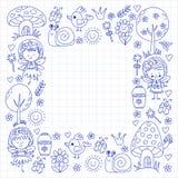 Απεικόνιση του μαγικού δάσους με το σχέδιο Doodle νεράιδων για τα κορίτσια και του παιδικού σταθμού, παιδιά καταστημάτων παιδιών  Στοκ φωτογραφία με δικαίωμα ελεύθερης χρήσης