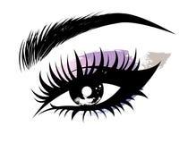 Απεικόνιση του ματιού makeup και brow στο άσπρο υπόβαθρο ελεύθερη απεικόνιση δικαιώματος