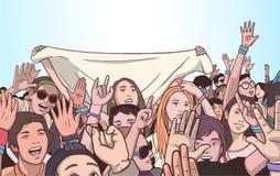 Απεικόνιση του μικτού εθνικού πλήθους ενθαρρυντικού με τα αυξημένα χέρια στο φεστιβάλ μουσικής Στοκ Εικόνες