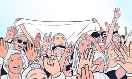 Απεικόνιση του μικτού εθνικού πλήθους ενθαρρυντικού με τα αυξημένα χέρια στο φεστιβάλ μουσικής Στοκ φωτογραφίες με δικαίωμα ελεύθερης χρήσης