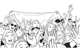 Απεικόνιση του μικτού εθνικού πλήθους ενθαρρυντικού με τα αυξημένα χέρια στο φεστιβάλ μουσικής Στοκ Φωτογραφίες