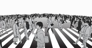 Απεικόνιση του μικτού εθνικού πλήθους που διασχίζει την οδό στο με ραβδώσεις Στοκ Εικόνες