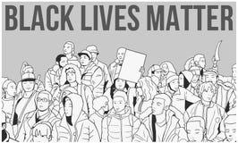 Απεικόνιση του μικτού εθνικού πλήθους που καταδεικνύει για τα ανθρώπινα δικαιώματα Στοκ Εικόνες
