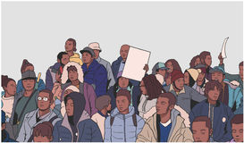 Απεικόνιση του μικτού εθνικού πλήθους που καταδεικνύει για τα ανθρώπινα δικαιώματα Στοκ φωτογραφία με δικαίωμα ελεύθερης χρήσης