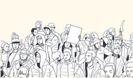 Απεικόνιση του μικτού εθνικού πλήθους που καταδεικνύει για τα ανθρώπινα δικαιώματα Στοκ Εικόνα
