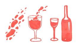 Απεικόνιση του μπουκαλιού και του γυαλιού κόκκινου κρασιού ελεύθερη απεικόνιση δικαιώματος
