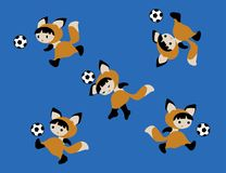 Απεικόνιση του μωρού αλεπούδων με το ποδόσφαιρο Απεικόνιση αποθεμάτων