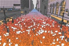 Απεικόνιση του ογκώδους πλήθους που διαμαρτύρεται για τα ανθρώπινα δικαιώματα με τα κενά σημάδια Στοκ Εικόνες
