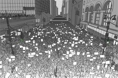 Απεικόνιση του ογκώδους πλήθους που διαμαρτύρεται για τα ανθρώπινα δικαιώματα με τα κενά σημάδια Στοκ φωτογραφία με δικαίωμα ελεύθερης χρήσης