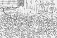 Απεικόνιση του ογκώδους πλήθους που διαμαρτύρεται για τα ανθρώπινα δικαιώματα με τα κενά σημάδια Στοκ φωτογραφίες με δικαίωμα ελεύθερης χρήσης