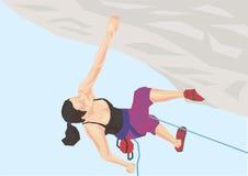 Απεικόνιση του ορειβάτη στο βράχο Στοκ Εικόνες